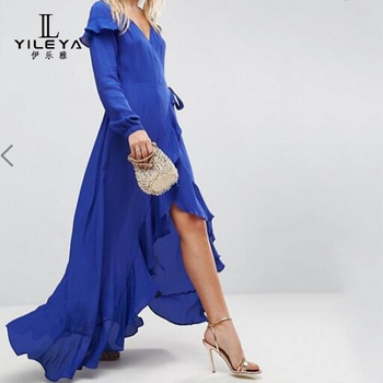 Casual Trendy Long Sleeve Dresses Maxi Short Front Back Dress