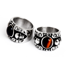 Fashion Onyx Stone Men Silver Titanium Ring