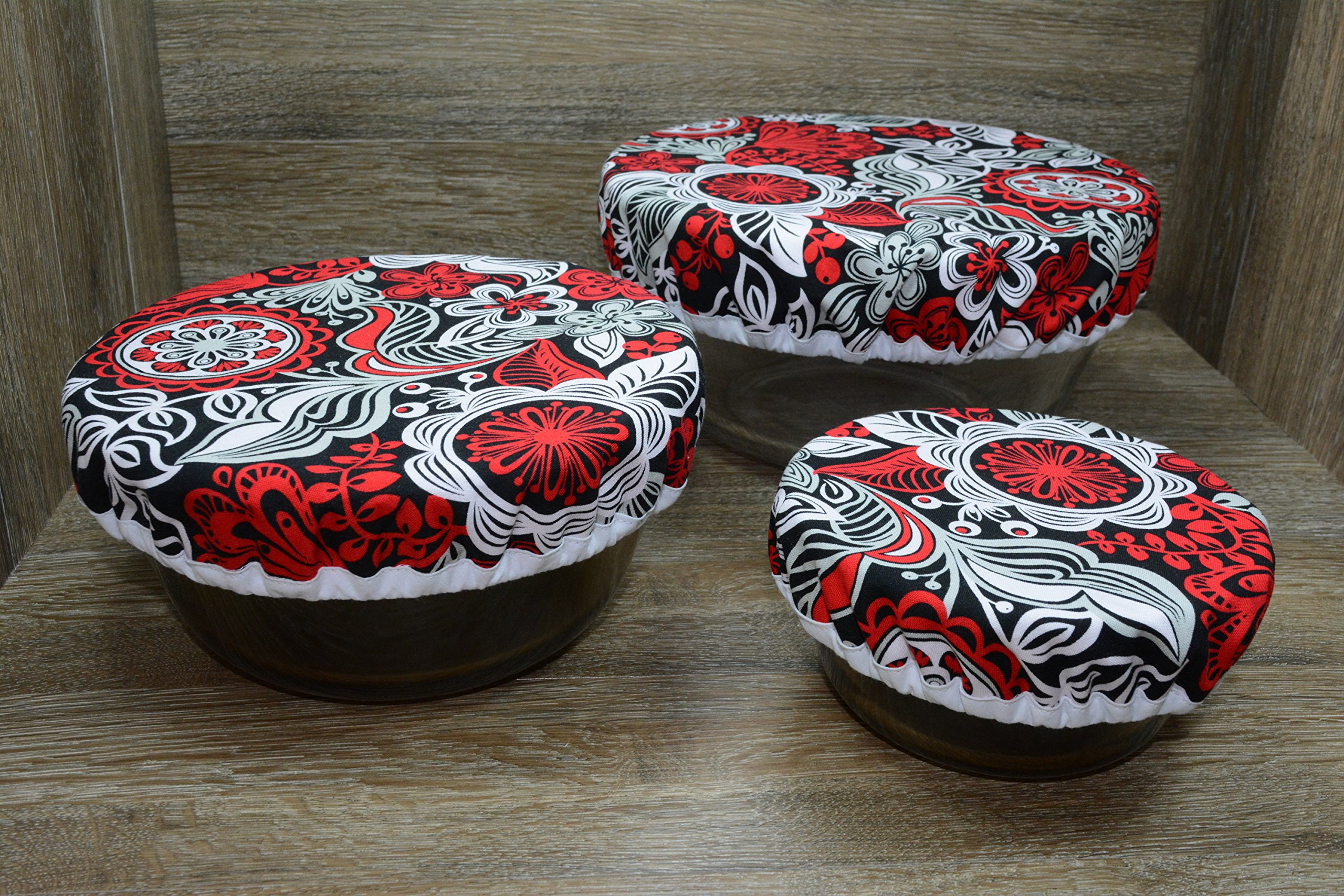 Eco-Friendly // Reusable // Bowl Covers // Set of 3 // Rockin Red Floral