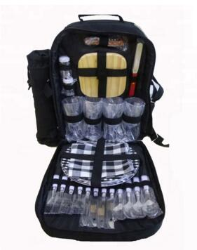 Yalıtımlı soğutucu bölmesi ve çıkarılabilir şarap şişesi tutucusu ile 4 için Piknik Sırt Çantası