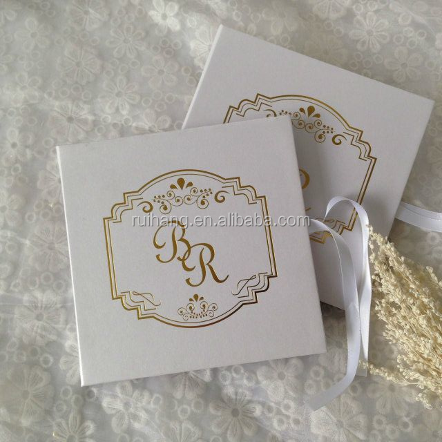 Luxury cardboard gold foil letterpress printing royal wedding invitation cards