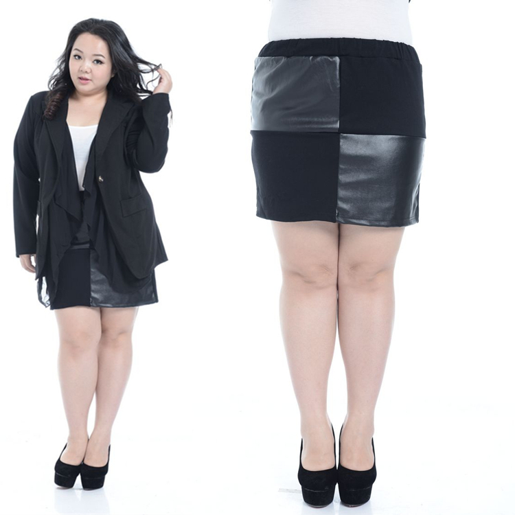 f61260104561f Get Quotations · Sexy Women black slim mini skirt plus size bodycon Elastic  waist skirt PU Leather Mini Splicing