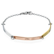 24fae9cddccd6 Women's Custom Design Stainless Steel Id Bracelet With Figaro Chain ...