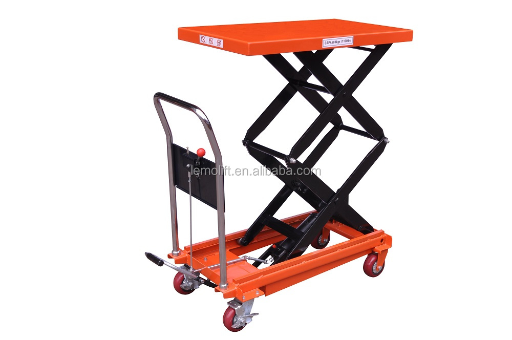 NOBLELIFT Hydraulic mechanical Double Scissor hand Lift Table