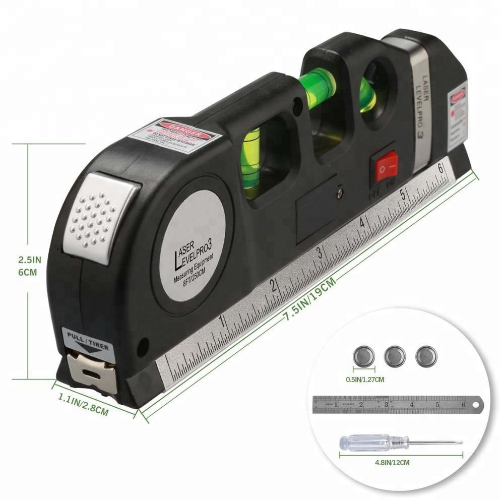 """With 8ft//2.5M tape measure and 15cm//6/"""" ruler AA Multi-Purpose Laser Level"""