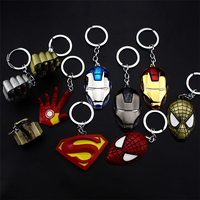 High quality custom metal keychain Avengers 3 Thor Hammer Hulk hand Superhero Iron Man face Captain America Shield for men Gift