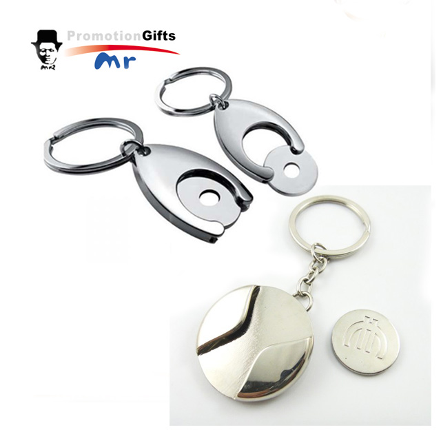 Customized Logo Shopping Cart Coin Key Chain Quarter And Loonie Trolley Cart Token Coin Key Ring Shopping Cart Tokens