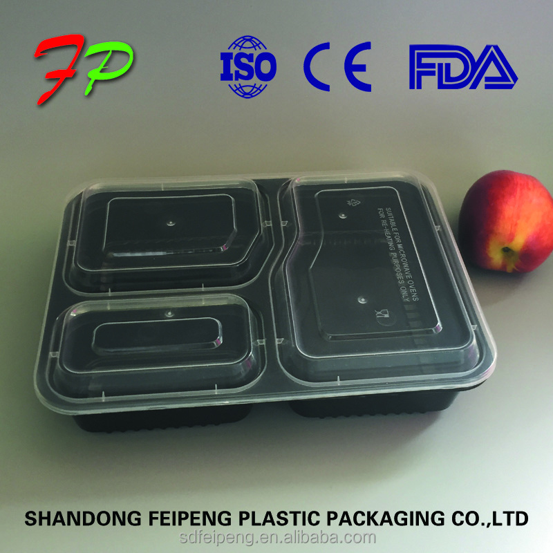 multi-compartments pp plastic disposable transparent <strong>plate</strong> for food with clear lid