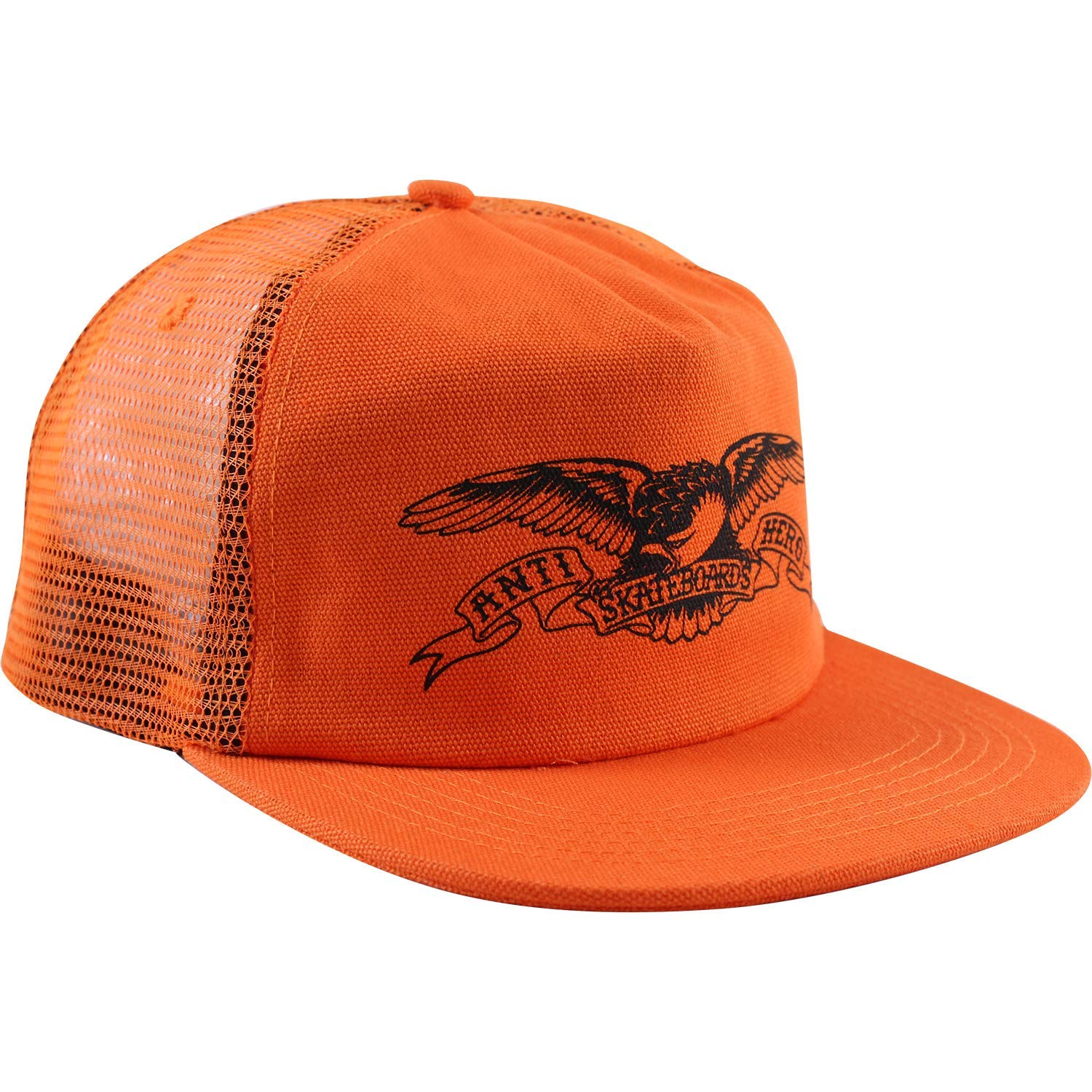 88b53281b95 Get Quotations · Anti Hero Skateboards Basic Eagle Orange Black Mesh  Trucker Hat - Adjustable