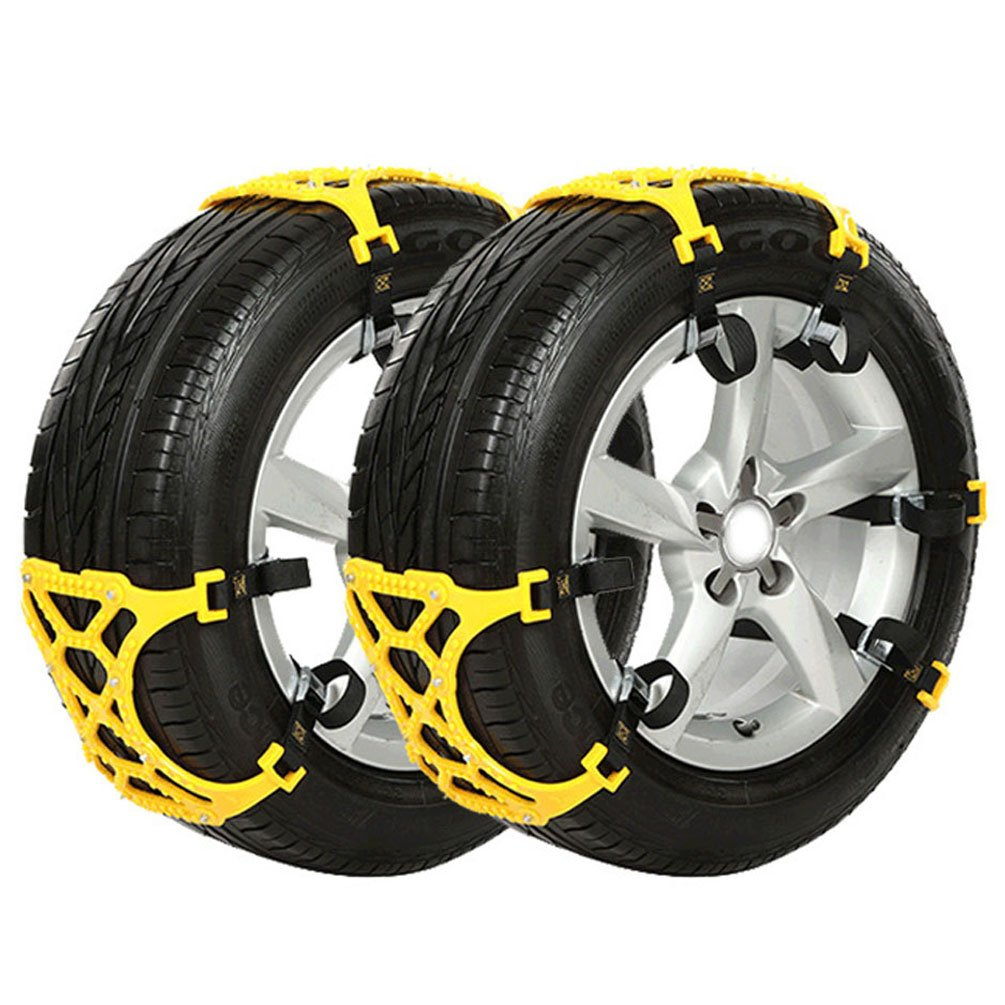 Anti Slip Tire Chains Snow Tire Chains Car Emergency Thickening Anti-Skid Chain, Fit for most Car/SUV/Vans/Truck, Set of 6 with Free Snow Shovel and Gloves