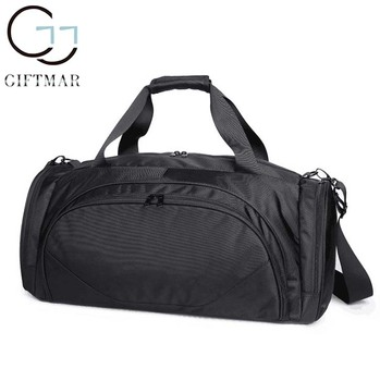 Fashionable Simple Style Small Black Gym Bag Lightweight Cool Sports Duffle Bags With Custom Logo