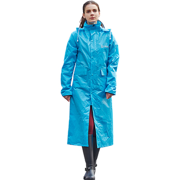 PVC long rain coat for man and woman with hooded 100%waterproof rain coat jacket for man lady