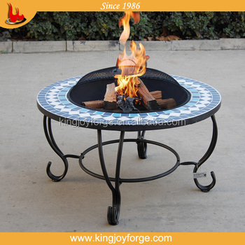 Backyard Fire Pit Table With Ceramic Tiles/brazier Table Bbq