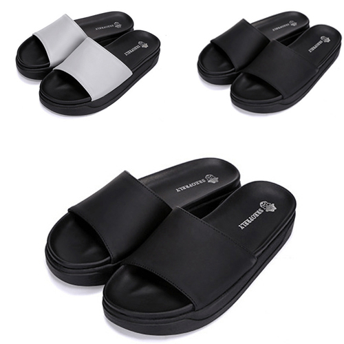 top-rated quality new concept beautiful design Black Platform Slippers 2015 Summer Peep Toe Slippers Trend Thick Crust  Open Toe Flip Flops Leisure Black Platform Slippers