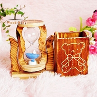 The New Simple And Easy Brown Wooden Pen Container The Timer Hourglass Single Fancy Handmade Pen Holder
