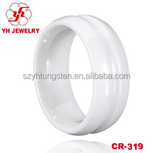 High Tech White Ceramic Ring king and queen engagement and wedding ring