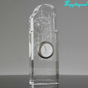 Clear Customized Crystal Clock Block Trophy For Company Award