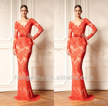 designed by zuhair murad dresses for sale long sleeve red evening dress formal gown with v neck