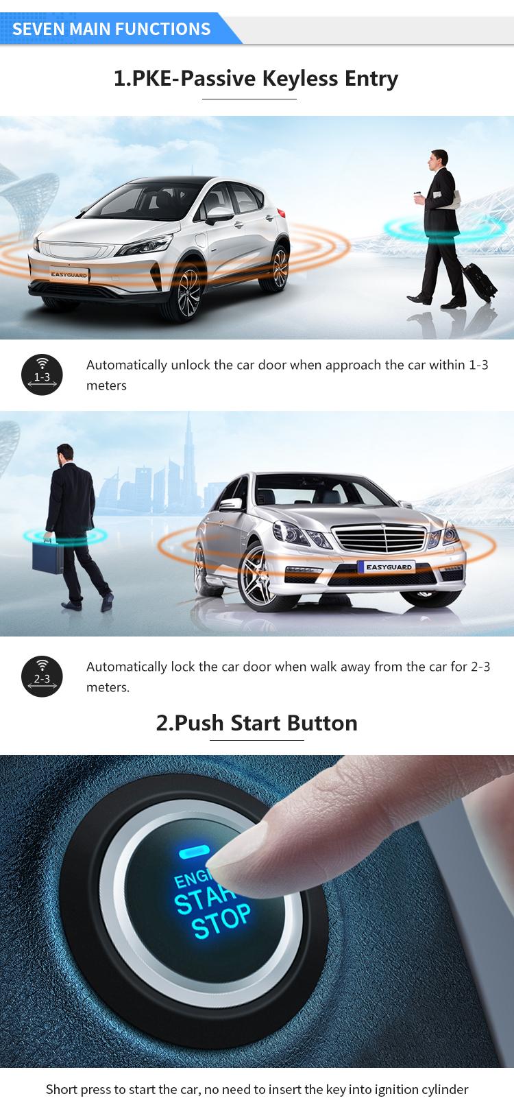 Shock Warning Auto Smart Keyless Entry System Push Button Start Remote Starter Car Alarm