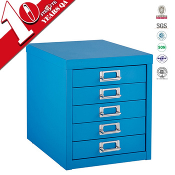 Pocket Furniture Red Mini Metal Medical Cabinet With 5 Shallow Drawers Glossy