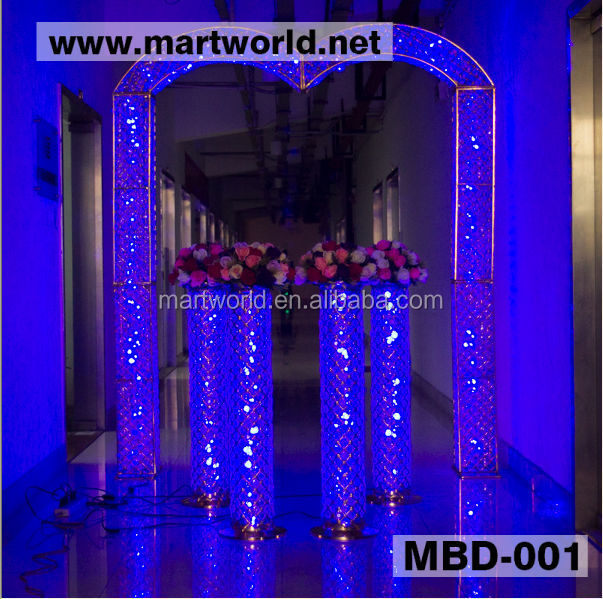 2017 New design Cheap crystal decorative arch for wedding decorations, crystal backdrop stand,wedding arch for sale(MBD-001)