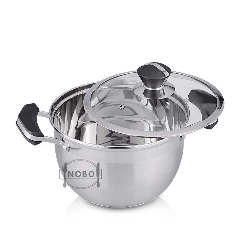 Household stainless steel casserole, cookware set, cooking pot with glass lid