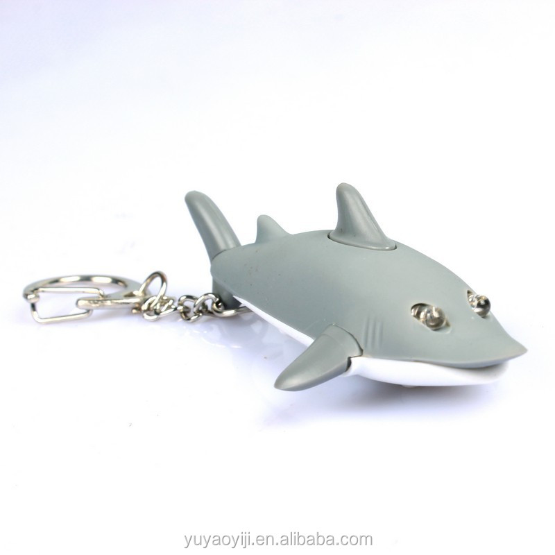 2led hot sale Shark Shape Mini Keychain Led Flashlight With Sound/Voice LH-5019