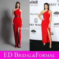 MOON BUNNY Kendall Jenner One Shoulder Satin High Slit Red Prom Dress 2015 amfAR New York Gala Celebrity Formal Evening Gown Who