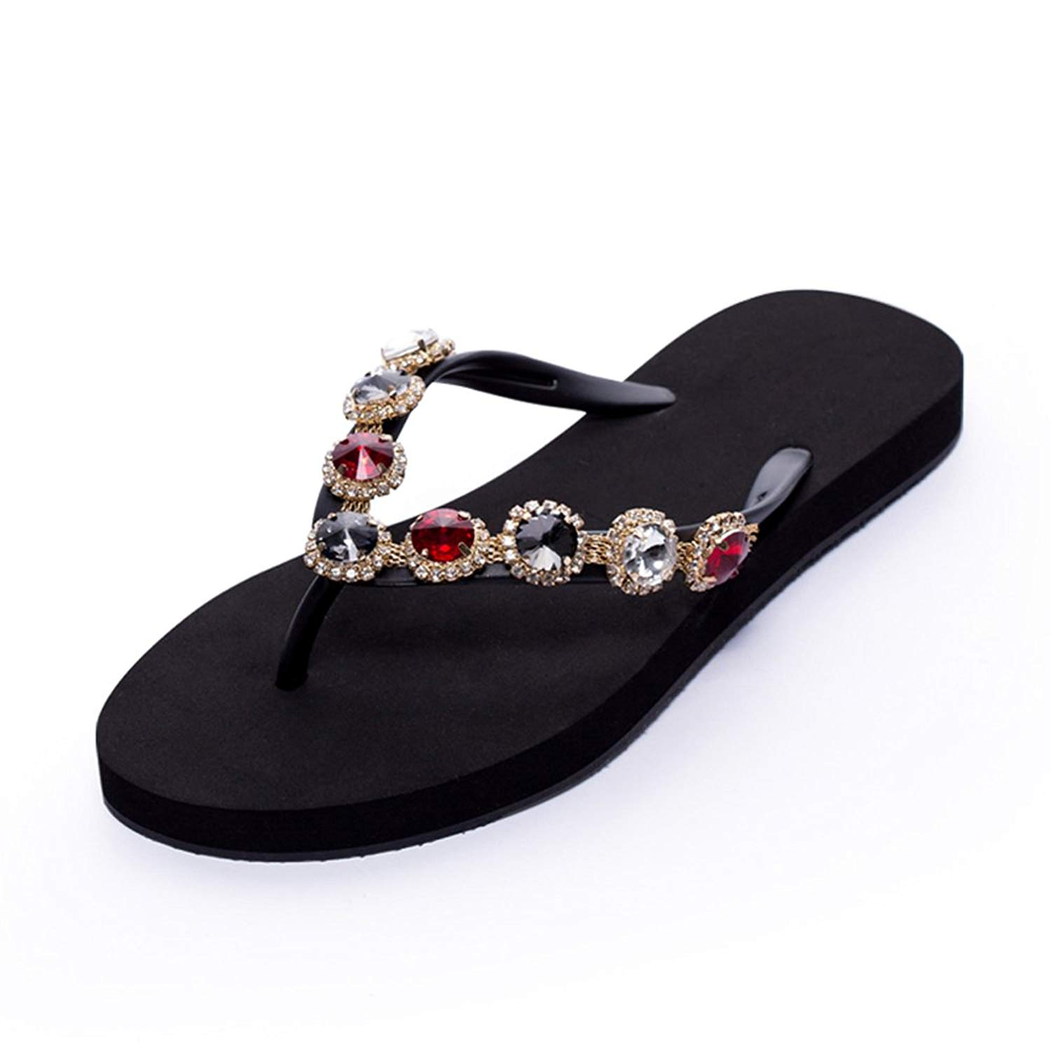 57691d119bf70f Get Quotations · Women Flip Flops Jeweled Hand Crafted Crystal Rhinestones Flats  Sandals