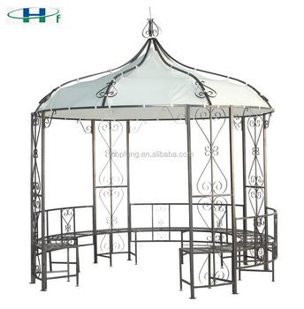 Dia3x2.9 Round Steel Frame Decorative Garden Wrought Iron Gazebo