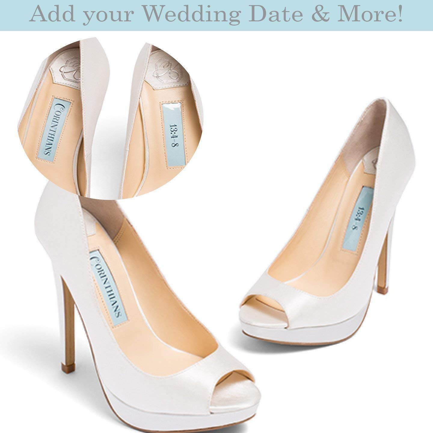 Get Quotations · Bridal Womens Ivory Satin Peep Toe Wedding Bridal Shoes -  Personalization available patent pending 0ebc93ec612b