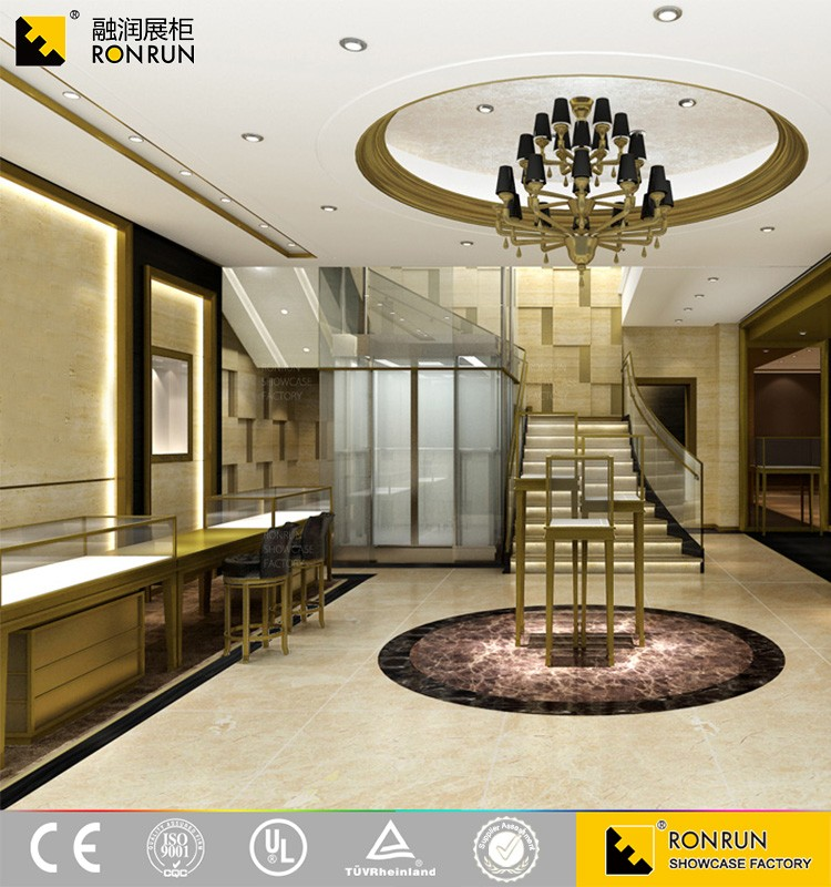 High-end Classical Metal Meterial Jewelry Shop Furniture Design Luxurious Jewelry Showcase and Cabinet by famous designer