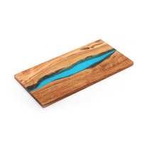 Personalized Rectangular Large Multi Functional Resin Olive Wood Chop Cutting Board with Resin For Kitchen