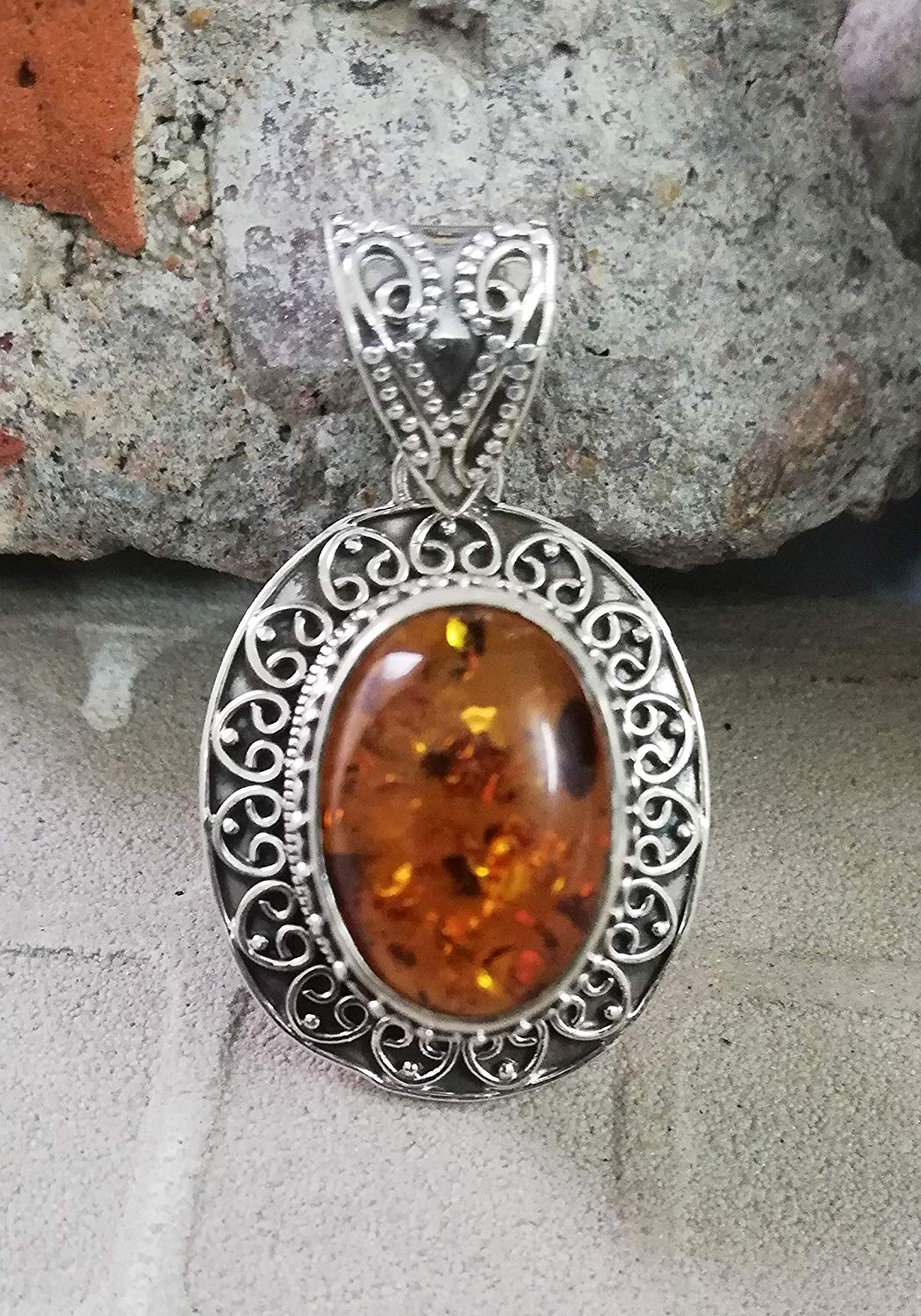Amber Pendant 925 Sterling Silver Exquisite Handcrafted Pendant Antique Pendant Beach Wedding Pendant Artisan Silver Work Extremely Unusual Jewelry Victorian & Filigree Pendant Intricate Design Boho
