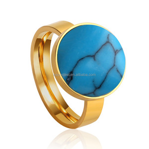 Stainless Steel Turquoise Circular Rings For Women Men Jewelry