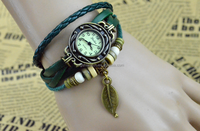 Wholesale Retro butterfly pendent genuine leather vintage bracelet watch women