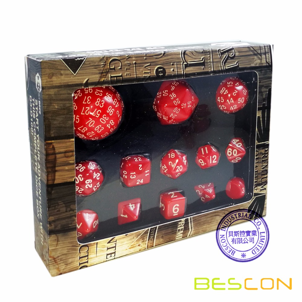 Bescon Complete Polyhedral Dice Set 13pcs D3-D100, 100 Sides Dice Set Opaque Red фото