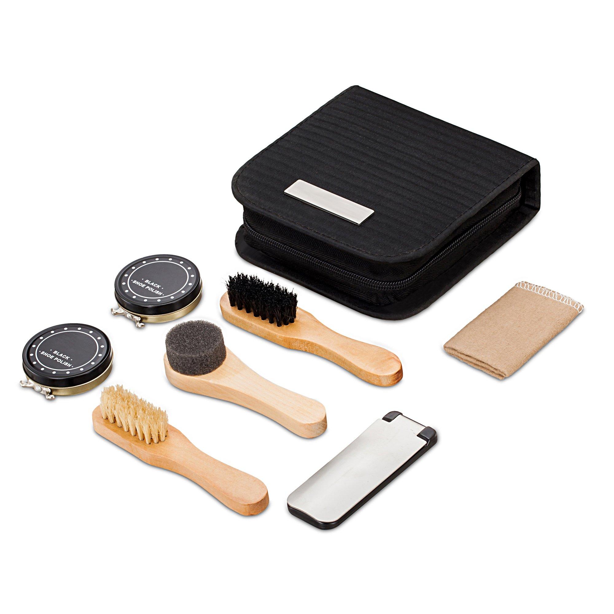 feffaa2d650 Get Quotations · Shoe Shine Kit   Shoe Care Valet with PU Leather Sleek  Elegant Case