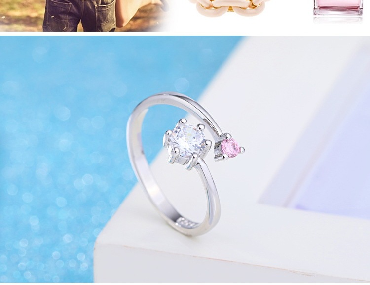 Romantic simple zircon couple silver ring pink CZ ring