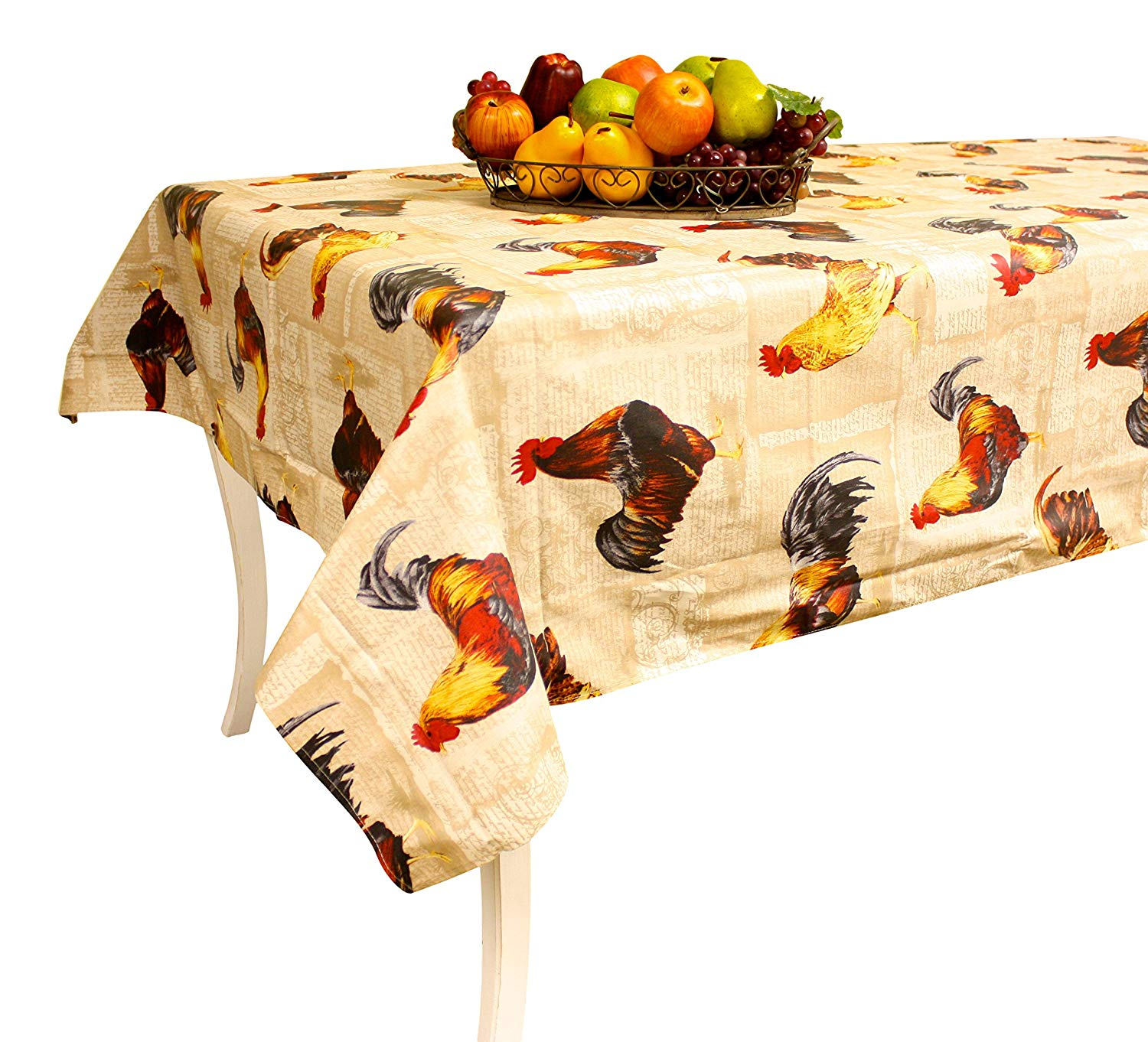 "Rooster Tablecloth, French vintage design""Coqs"" - Beige- 100% Coated Cotton - Rectangular 137"" X 61"" - Made in France"