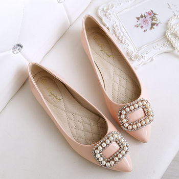 SP3822A Square Buckle Pointed Toe Low-cut Women Flat Shoes