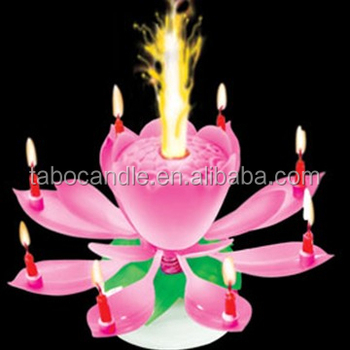Beautiful Musical Blossom Lotus Flower Birthday Candle