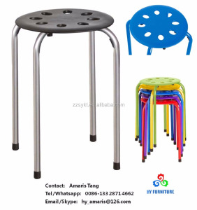 Marius stackable plastic stools with metal legs supplier