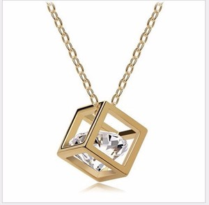 crystal jewellery cubes eight-heart eight-arrows zircon necklace three-dimensional love pendant