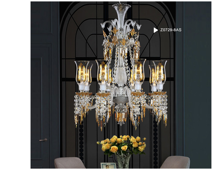12 Light Baccarat Crystal Chandelier Floor Lamp