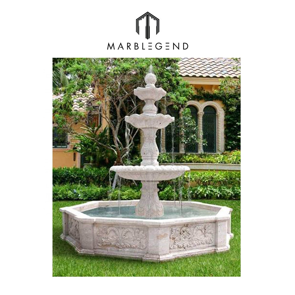Three Tier White Marble Stone Outdoor