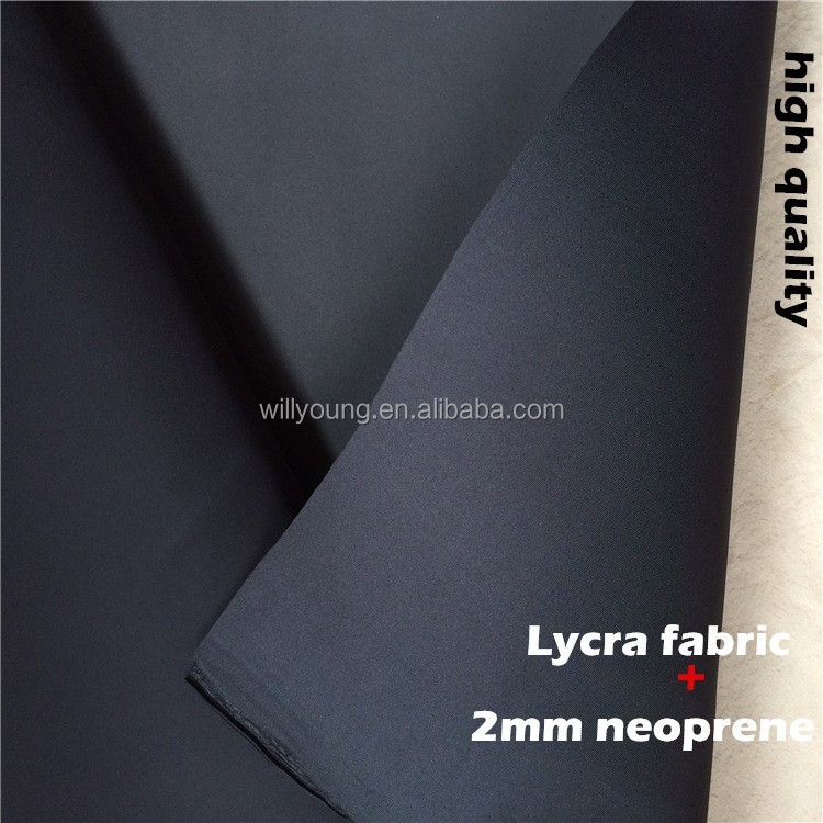 neoprene lycra fabric 2mm one side coated lycra spandex fabric neoprene stretch for diving surfing suit shoes slimming shorts