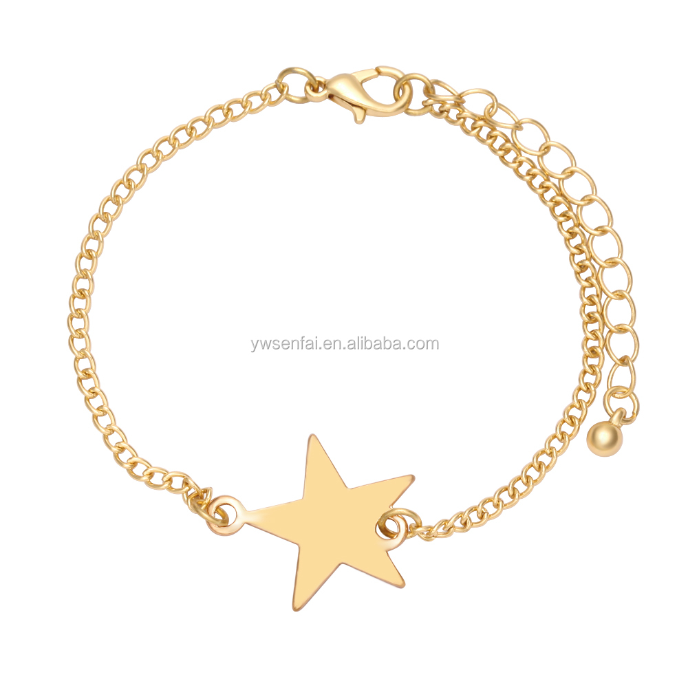 Cheap items to sell handmade star charm extra long bracelets wholesale gold jewellery bangles