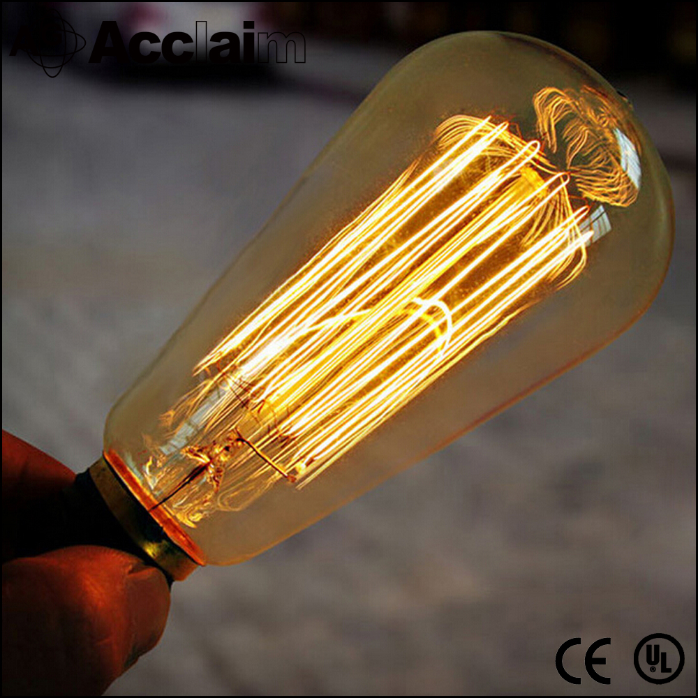 Antique edison bulb ST64 40W vintage incandescent light bulb E27 220V decorative light Led Filament Bulb lighting tubes Edison