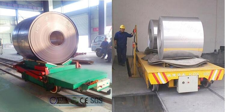 Battery powered metal ladle transfer cart running on curved rails